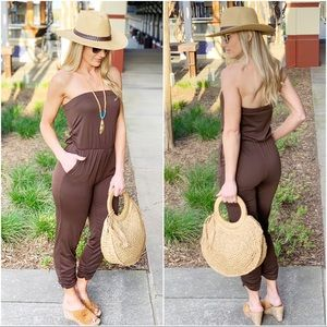 ✨RESTOCKED✨Brown Sleeveless Jumper with ruched leg